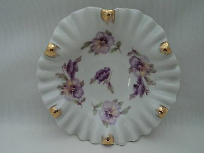 "Mitterteich Bavaria Germany 6"" Scalloped Edge Candy Nut Dish Purple Pansies Mint"