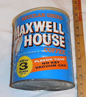 vintage Maxwell House Coffee Regular Grind EMPTY Tin Can 3 pound size with lid