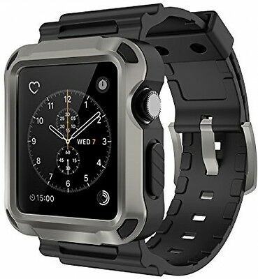 Rugged Protective Case w Strap Band for Apple Black Gray Watch 42 mm Series 1 2