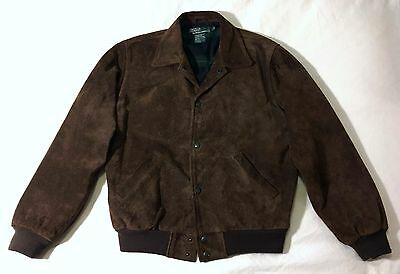 VTG Polo Ralph Lauren Roughout Suede Leather Jacket Bomber A2 Varsity Large RRL