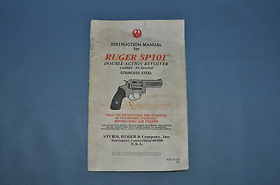 Ruger SP101 .38 Special Instruction Manual W/ .22 cal Long Insert