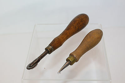 Antique Wood Handle Tambour Embroidery Hook & Sewing Pattern Tracer