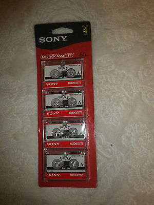 SONY Brand~Microcassette Tapes~4 Pack~60 Minutes~New~Original Package