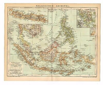 1890s South East Asia map Original Vintage Malaysia Java Singapore Sumatra Siam