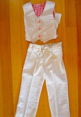 Vintage true 70s age 3 unused girls toddlers cotton reversible vest pants suit