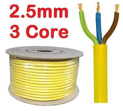 2.5mm YELLOW 32a Arctic 110v 3 Core Flex Cable Outdoor Wire sold per metre