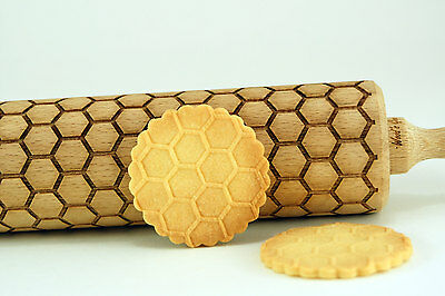 Engraved HONEYCOMB rolling pin wooden laser cut any pattern unique design