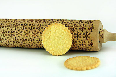 Engraved SNOWFLAKES rolling pin wooden laser cut pattern unique design