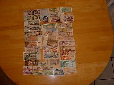 Lot of 35 different UNC world notes +10 different UNC Chinese Ration Coupons #11