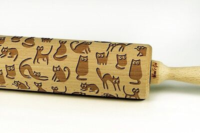 Engraved FUNNY CATS rolling pin wooden laser cut any pattern unique design