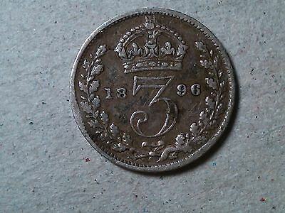Great Britain 3 pence  threepence 1896 Victoria silver