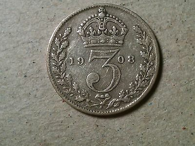 Great Britain 3 pence  threepence 1908 Edward VII silver