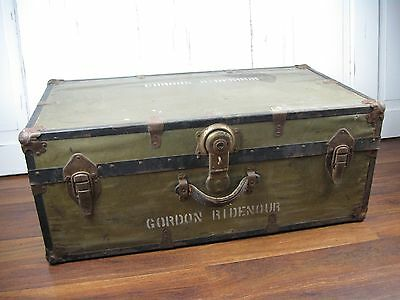 Vintage Wood and Metal Military Trunk with Inside Tray