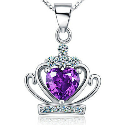 925 Sterling Silver Crystal Crown Love Heart Pendant Necklace 18 Chain Gift Box