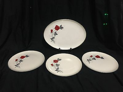 Taylor Smith Taylor Versatile Red Rose Dinner Plate Set