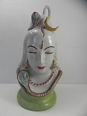 Vintage Ceramic Porcelain Hindu God Shiva Sculpture Figurine Statue India Moon