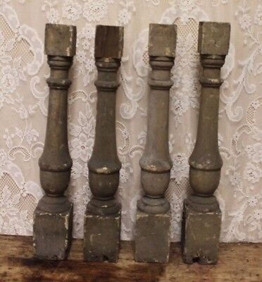 4 Salvaged Rustic Gray Chippy Paint Staircase Baluster Posts Table Legs 25 1/4""