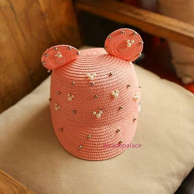 New Summer Children Baby Girls Mouse Ears Pearls Straw Beach Straw Hats 2-8Y