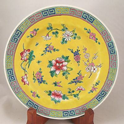 Antique Chinese Famille Jaune Plate Yellow Flowers Republic Period China (EL)
