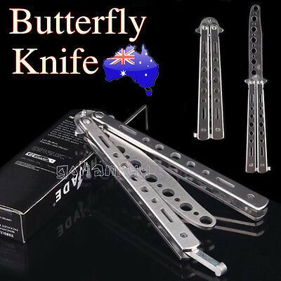 Professional Practice Butterfly Steel Trainer Knife Outdoor Tool With Sheath FZ