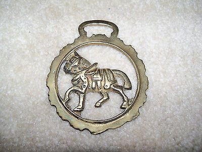 Vintage Horse Harness Brass Medallion Bridle Ornament Galloping Horse