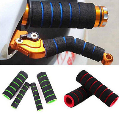 2 Pair Motorcycle Bicycle HandleBar Grip+Brake Clutch Lever Soft Sponge Cover NT