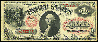 $1.00 1878 United States Note Oval Seal & Red Numbers FR 27  ***LOOK***