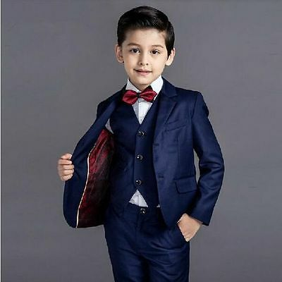 Kid's 3 Piece Formal Wedding Groom Tuxedos Flower Boys Children Party Prom Suits