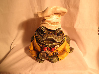 "Chef Toad Cooking Stature  With Fry Pan .good Condition 7"" High 22""round."