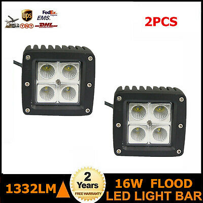 2X 16W 3 inch Cree Square Flood Beam LED Work Light Off Road Fog 4wd truck Boat