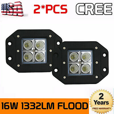 2x 16W Cree Square Flush Mount Flood Beam LED Work Light Off Road Fog 4wd Lamp