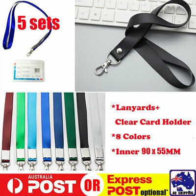 5 Lanyards + 5 Card Holder Neck Strap With Hook ID Badge Name Tag SCARD15