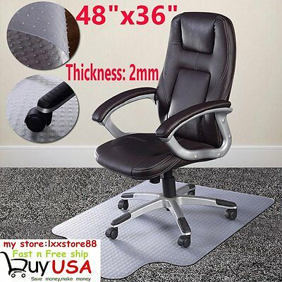 "New 48"" x 36"" 2mm Thick PVC Home Office Chair Floor Mat For Carpet/Tile US SHFH"