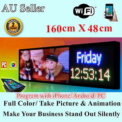 Outdoor Full Colour Programmable Picture Animation LED Message Sign 160 x 48cm