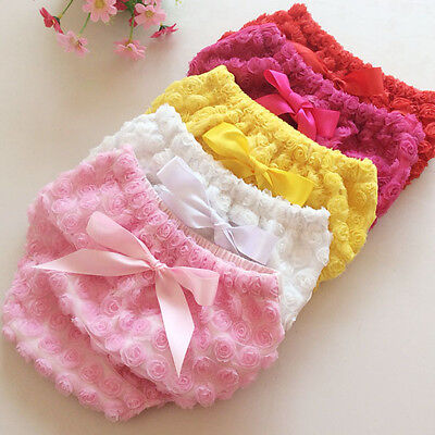 Baby Girls Cotton Rose Flower Ruffle Panties Shorts Bloomer Diaper Cover 0-18M