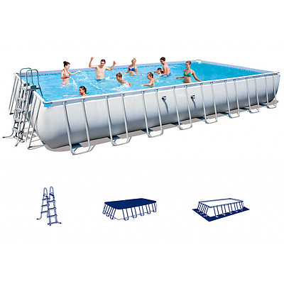 Large Swimming Pool Set Ladder Cover Garden Pools Above Ground Rectangular Cloth