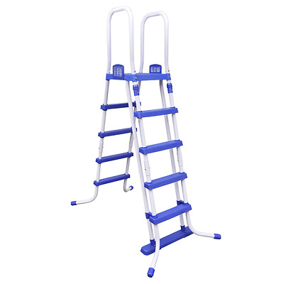 Pool Safety Ladder Steel Frame Swimming Pools Plastic Steps Removable White Blue