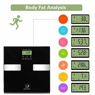 180kg LCD Digital Body Fat Water Bone Calories BMI Analyser Glass Bathroom Scale