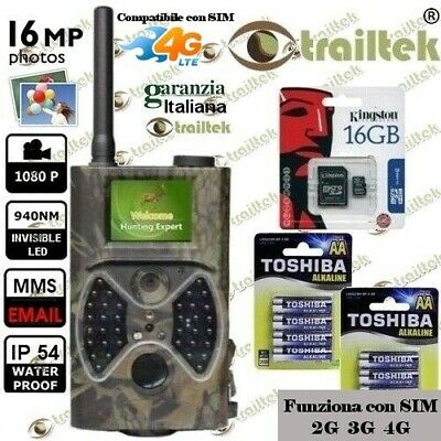 FOTOTRAPPOLA MIMETICA VIDEOCAMERA MMS -MAIL- INFRAROSSO INVISIBILE 16MP HD 32Gb.