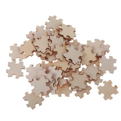 50pcs Blank Wooden Puzzle Shape Slices Discs Embellishment for DIY Craft