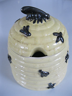 Vintage Ceramic Bee Hive Honey Jar and Cover