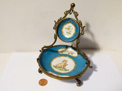 Antique CUPID c1900 French Sevres Style Porcelain Fine Pocket Fob Watch Holder