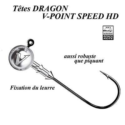 têtes plombees dragon v-point speed hd