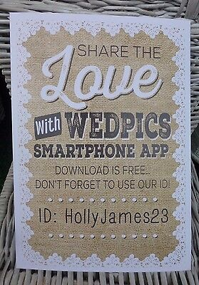 personalised WEDPICS APP instructions sign HESSIAN LACE rustic style WEDDING