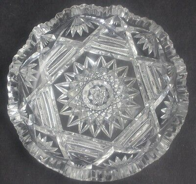 "Antique American Brilliant Period ABP Deep Cut Glass Hobstar 5"" Ice Cream Bowl"