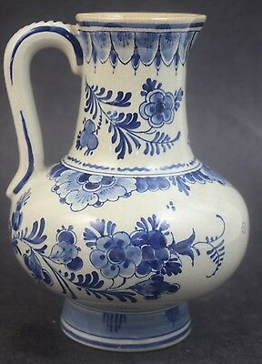 Vintage Hand Painted Delft Pottery Blue & White Floral Water Pitcher Ewer Vase