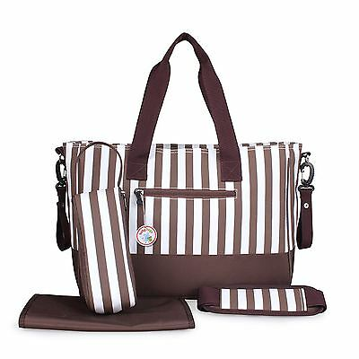 Babyhugs 5pcs Baby Nappy Changing Diaper Bag SET - Brown & White Stripes