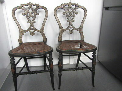VICTORIAN WOODEN LACQUERED MOTHER OF PEARL INLAY CHAIRS PAIR x 2