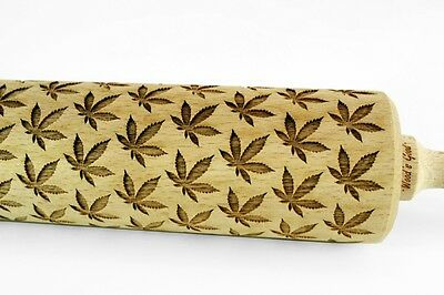 Engraved CANNABIS LEAF rolling pin wooden laser cut pattern unique design