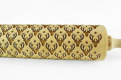 Engraved REINDEERS rolling pin wooden laser cut any pattern unique design